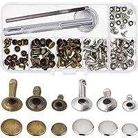Nieten Einzel Kappe Niet Tubular Metall Bolzen mit Fixing Tool Kit für Leder Handwerk Reparaturen Dekoration, 3 Größen, 60 Set (Mehrfarbig B)