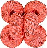 #8: M.G Acrylic Knitting Wool, (Multi Rowan) no.285 Pack of 6 Baby Soft Wool Ball Hand knitting wool / Art Craft soft fingering crochet hook yarn, needle knitting yarn thread dyed