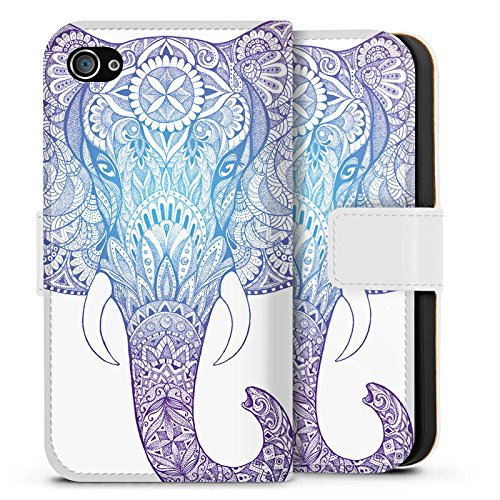 Apple iPhone 4s Hülle Case Handyhülle Elefant Mandala Ornamente Sideflip Tasche weiß