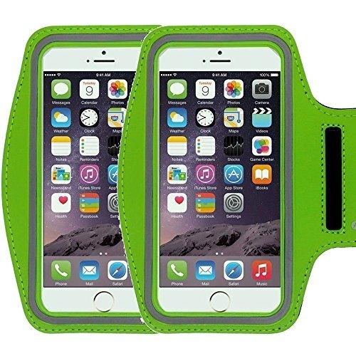 Kyocera Radio (Universal Sportarmband casehigh Shop leicht Montage Sports Sportarmband mit bauen in Bildschirm schützen Fall für kratzfeste Material Slim Leichtes, Armband Green 2 Pack)