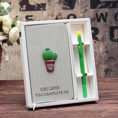 TIANXIN Diario de Cactus, Cuaderno de Diario de Cactus Lindos Cuaderno y Conjunto de Lápices de Gel, Plano Portátil Manual de color Rosa Ordinario, Regalo de Cumpleaños Linda Niña