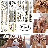 Tatuajes Temporales Niñas Metálico Etiqueta Engomada Del Tatuaje Temporal Body Fake Jewelry Tatuajes 10 Hojas para Mujeres Adolescentes Niñas (Artilugio)