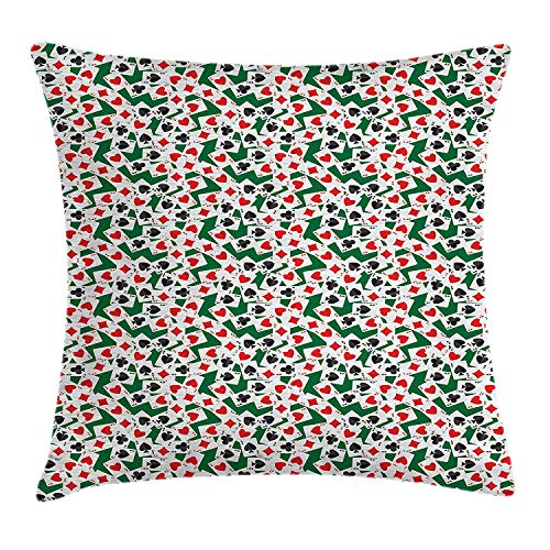 KLYDH Poker Throw Pillow Cushion Cover, ACES of All Card Suites Scattered on Gambling Table Abstract Poker Theme, Decorative Square Accent Pillow Case, 18 X 18 inches, Hunter Green Red Black (Green Man Suite)