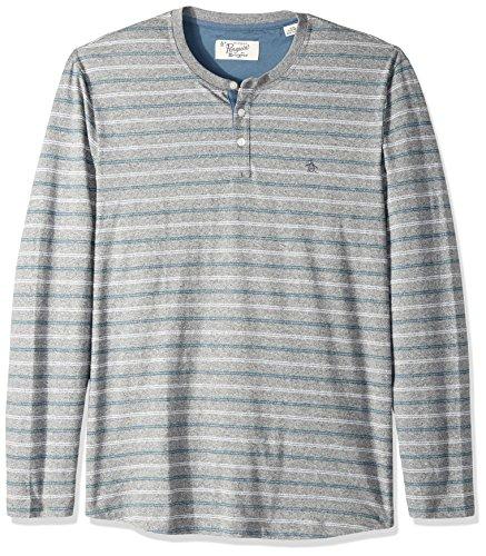 Original Penguin Herren Henley Shirt Gr. L, Monument (Sleeve Long Henley Striped Shirt)