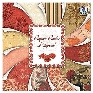 Ursus 41100099F Paper Pack Poppies, Aprox. 30,5x 30,5cm, 24Hojas Surtido en 12Motivos