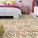 livingfloor® PVC Bodenbelag Shabby Retro Fliesenoptik Mediterran Rot 2m Breite, Länge variabel Meterware, Größe:1 Muster / Sample