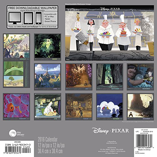 Disney Pixar 2016 Calendar: Includes Downloadable Wallpaper