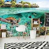 decomonkey | Fototapete Korallenriff 350x256 cm XXL | Design Tapete | Fototapeten | Tapeten | Wandtapete | moderne Wanddeko | Wand Dekoration Schlafzimmer Wohnzimmer | 3D Wandtattoo | Schildkröte Meer | FOA0022a73XL