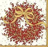 Pepperberry Red Wreath Caspari Napkins Dinner size 40 centimetre square 20 in pack 3 ply