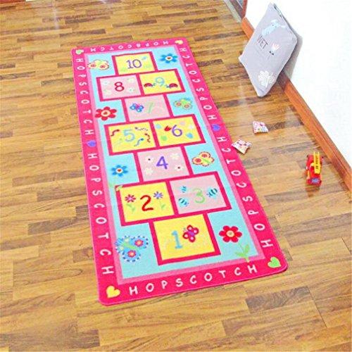 HD-Dreamer Teppich Kinder Baby Matten Spielteppich Fußmatten Baby Spielmatte Krabbeldecke Anti-Rutsch Verdicken Matten Bodentür/Vorleger/Wohnzimmer/Gästezimmer Nylon 80 * 200Cm,Pink,80 * 200Cm