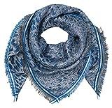 Becksöndergaard Damen Tuch Blau Esther Blue Nights 70% Baumwolle 30% Metallic Yarn 100 x 100 cm: glitzernd quadratisch gemustert - 1810727001-205