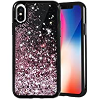 Cover iPhone X Glitter, Custodia iPhone X Glitter HWeggo Brillantini Sparkle Custodia Liquido Antiurto Protettiva Shock Copertura per Apple iPhone X 5.8 pollici (Oro Rosa)