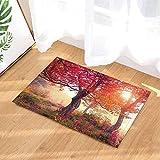 Holz Bad Teppiche von cdhbh Dream Fairyland Wonderland Ahorn Baum rot Blatt Rutschfeste Fußmatte Boden Eingänge Innen vorne Fußmatte Kinder Badematte 39,9x 59,9cm Badezimmer Zubehör