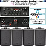 SMART HOME BLUETOOTH 4 SPEAKER SYSTEM - 4x Black Wall Mounted Speakers & 110W Stereo HiFi Amplifier - *ECHO/ALEXA* - Wireless Background Music Player Amp Kit - Bar, Restaurant, Clubs, Pubs, Cafés