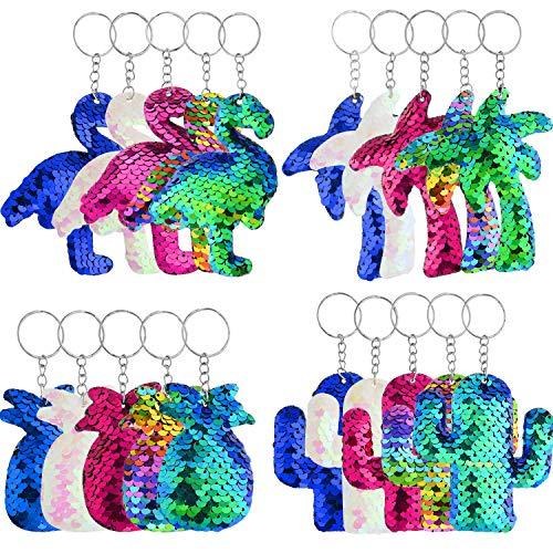 letten Schlüsselanhänger Flamingo Schlüsselanhänger Ananas Schlüsselbund Glitter Pailletten Schlüsselbund mit Kaktus Kokosnuss Baum für Hawaii Party, 4 Stile, 5 Farben ()
