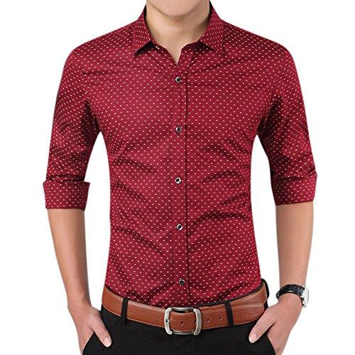 Uomo slim fit maniche lunghe gioventù affari pois risvolto camicia rosso s