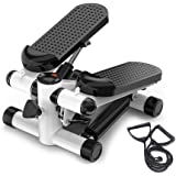 Mini Stepper Trainer Adjustable Height Stepper Exercise Machine with Resistance Bands and LCD Monitor Air Climber Stepping Fi