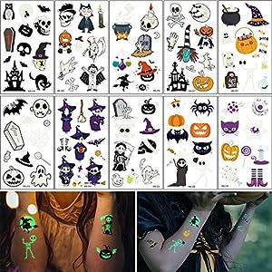 Wandefol 10pcs Pegatina Halloween, Tatuaje
