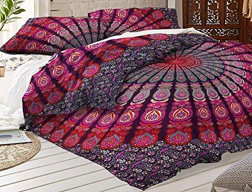 Indian Feather Mandala Doona, Bettbezug, Wende Bettbezug Quilt Cover Decke Bohemian Doona Bezug Tagesdecke mit 2PCS Kopfkissen Bezüge