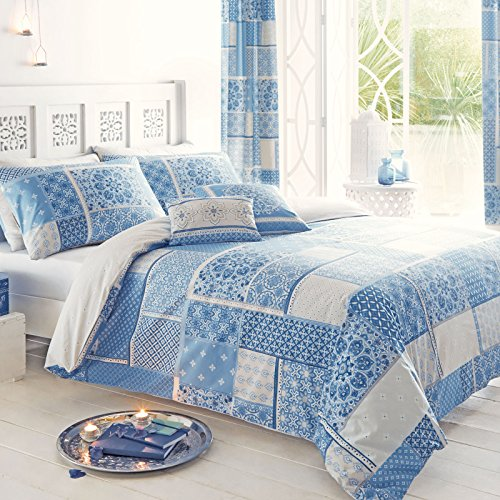 Just Contempo Parure di copripiumino con motivo Patchwork, a tema marocchino, blu, King
