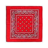 JOHNNY CHICOS Damen und Herren Unisex Bandanas Halstuch Stirnband Tuch Paisley 57x57cm (Rot)