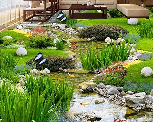 Weaeo Garten Gras Wasser Karpfen Teppiche 3D Boden Malerei Schlafzimmer Badezimmer Selbstklebende Bodenpaste 3D Bodenbelag-280X200Cm - Badezimmer Gras-teppich