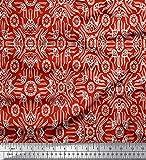 Soimoi Rot Rayon Krepp Stoff Blumen & marokkanisch Damast