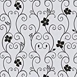 ZHOUBA, UV-Schutz, Schwarz mit Blumenmuster, Milchglas, Aufkleber