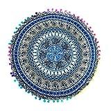 LuckyGirls Kissenbezug 43 x 43 cm Indische Mandala Boden runde böhmische Kissen Abdeckung Pillow Cover (Himmelblau)