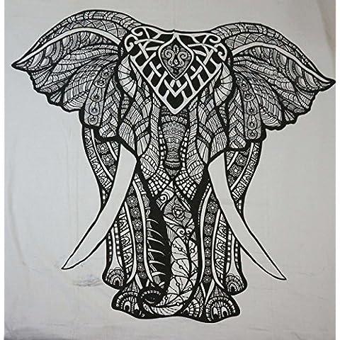 Hippy algodón indio Mandala colgar de la pared del tiro de Bohemia Decoración Badspread Tapices (elefante blanco)