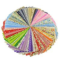 Profusion Circle Pack of 50 Fabric Cotton Floral Printed Boundle Patchwork Squares DIY Sewing Accessories