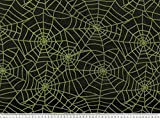 ab 1m: Nylon beflockt, Spinnennetz, grün, 145cm breit