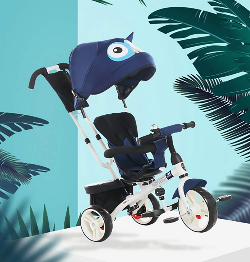 GHDE& 4 in 1 Toddler Trike Kids Tricycle with Sun Canopy, Back Storage and Removable Parent Handle Fit from 6 Months to 6 Years Max Load 30kg,Blue  4 IN 1 TRIKE: This is a growing with your child innovative kid trike, it follows with your baby's growing up and can be a baby bike, baby walker, or trike with parent pushing rod and canopy. Comfort for Kids: The large and retractable canopy provides ample shade, comfortable backrest and folding footrest to provide maximum comfort to your children. 5-point safety belts and safety fence ensure more safety for your baby. This tricycle is the best choice as an outdoor companion for children from 12 months to 5 years. CE & USA ASTMF certification, Maximum load bearing: 30 kg, Recommended height: 85-120 cm. 8