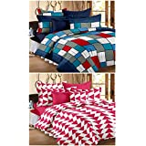 Story@Home 120 TC 100% Cotton Set Of 2 Double Bedsheet With 4 Pillow Cover Blue & Pink