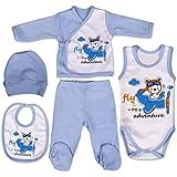 QAR7.3 Vestiti Neonato 0-3 mesi - Set Regalo, Corredino da 5 pezzi: Body, Pigiama, Bavaglino e Cuffietta - Taglia 56 - Blu