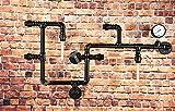 LOMT - Lámpara de pared de diseño industrial con tuberías, color negro