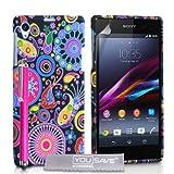 Yousave Accessories -Cover Per Sony Xperia Z1 Custodia Silicone Gel Meduse, Multicolore Con Stilo Penna