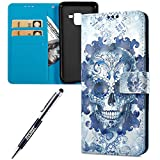 Custodia Samsung Galaxy A8 Plus 2018, Apple Samsung Galaxy A8 Plus 2018 Cover Pelle Portafoglio, JAWSEU Arts 3D Modello Libro Disegno [Shock-Absorption] PU Leather Wallet Pelle Portafoglio Custodia per Samsung Galaxy A8 Plus 2018 Cover con Super Sottile Silicone Case e Porta carte di credito e Supporto di Stand Chiusura Magnetica Protettiva Bumper Custodia Cover per Apple Samsung Galaxy A8 Plus 2018 - Cranio