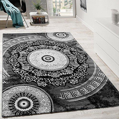 Paco Home Alfombra De Diseño con Hilo Brillante Y Ornamentos Clásicos Estampada En Gris Y Antracita, tamaño:60x110 cm