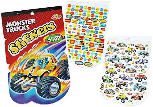 470 tlg. XL - Set Sticker / Aufkleber - Rennwagen - Quad - Monster Trucks - Kinder Kind klein z.B. für Stickeralbum Stickerblock - für Jungen Autos Truck Quads Fahrzeuge (Monster-truck-aufkleber Für Autos)