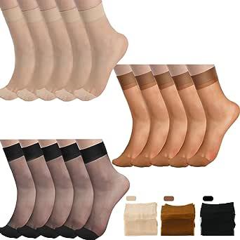 SATINIOR 15 Paia Calze alla Caviglia Trasparenti Calze in Seta Trasparenti alla Caviglia Trasparenti per Donna Dimensioni libere