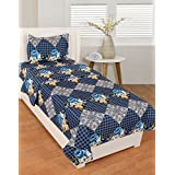 BSB Trendz Like Cotton Blue And White Clour With Small Boxes Printed Single Bedsheet With 1 Pillow Cover GSM-150 To 180, TC-180 Size-90x60 Inches Pillow Size-17x27 Inches