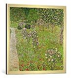 kunst für alle Bild mit Bilder-Rahmen: Gustav Klimt Orchard with roses - dekorativer Kunstdruck, hochwertig gerahmt, 75x75 cm, Gold gebürstet