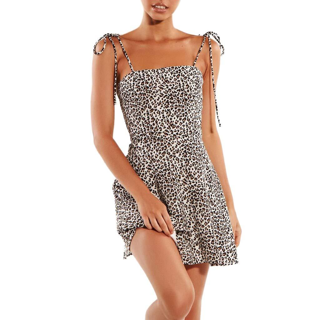 huge discount 5a656 6478c Siswong Vestiti Donna Estivo Abiti Eleganti, Vestito Donne Abito, Stile  Casual Sexy Senza Schienale Fionda Vestito Donna con Stampato Leopardo Mini  ...