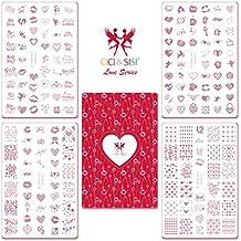 CiCi y Sisi Nail Art Stamping Image Placas placa amor día de San Valentín set kit Manicura Plantilla 4pieces-love