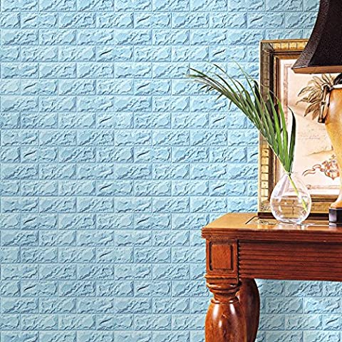 HLHN Creative PE Foam 3D Embossed Brick Stone Wallpaper Household Home Wall Sticker Poster Mural Home Art Decoration for Bedroom Livingroom Bathroom Kitchen (Sky Blue)