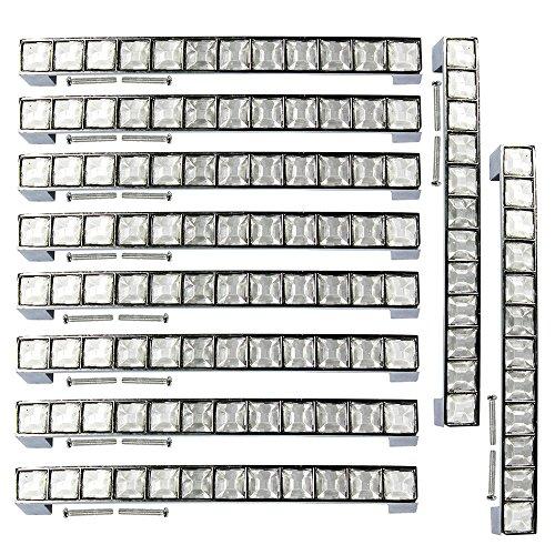 Silber Bad Möbel (PsmGoods® Strass Glas Diamant Kristall Schublade Knöpfe Europa Stil Möbel Tür Pull Griff für Dresser Schrank Schrank Küche Bad Knöpfe (128MM, Silber))