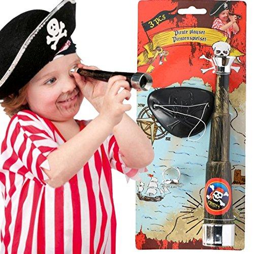 Set Pirata Kit 3 PZ Accessori Pirati Cannocchiale Anello Benda Bambini Eddy Toys