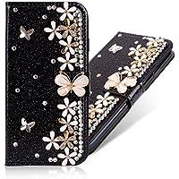 3D Butterfly Bling Glitter Glitzer Diamond Musterg Ledertasche Slim Retro Bookstyle mit Standfunktion Karteneinschub Magnetverschluss Flip Wallet Hülle Schutzhülle für Samsung Galaxy J4 2018