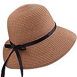 Stroh-Diskette-Sonnenhut, UVschutz-Bowknot mit dem Band-Papier gesponnenen faltbaren Strand-Sonnenhüten (Braun)
